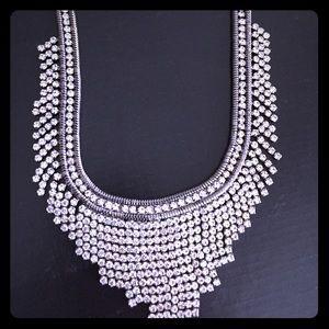 Aqua silver Raven bib necklace. NWT